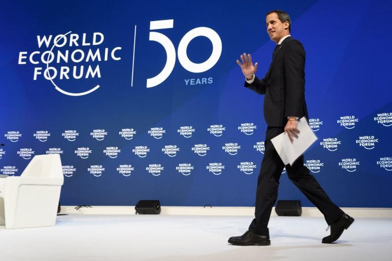 Venezuelan opposition politician spoke at the World Economic Forum on Thursday in Davos, Switzerland on Thursday. (Fabrice Coffrini/Agence France-Presse/Getty Images)
